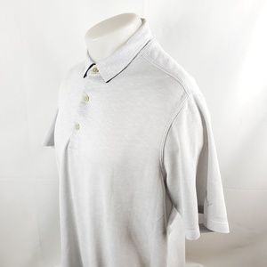 Tommy Bahama Men Polo Rugby Shirt Large Gray Modal